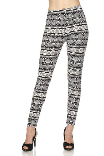 Cali Chic Juniors' Leggings Celebrity Brushed Snowflakes Aztec Ankle Soft Stretchy Pants