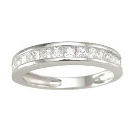 Sterling Silver Channel Set Princess Cut CZ Stackable Band Wedding Ring -
