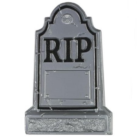 Club Pack of 24 Gray R.I.P. Headstone Plastic Halloween Decorations 21