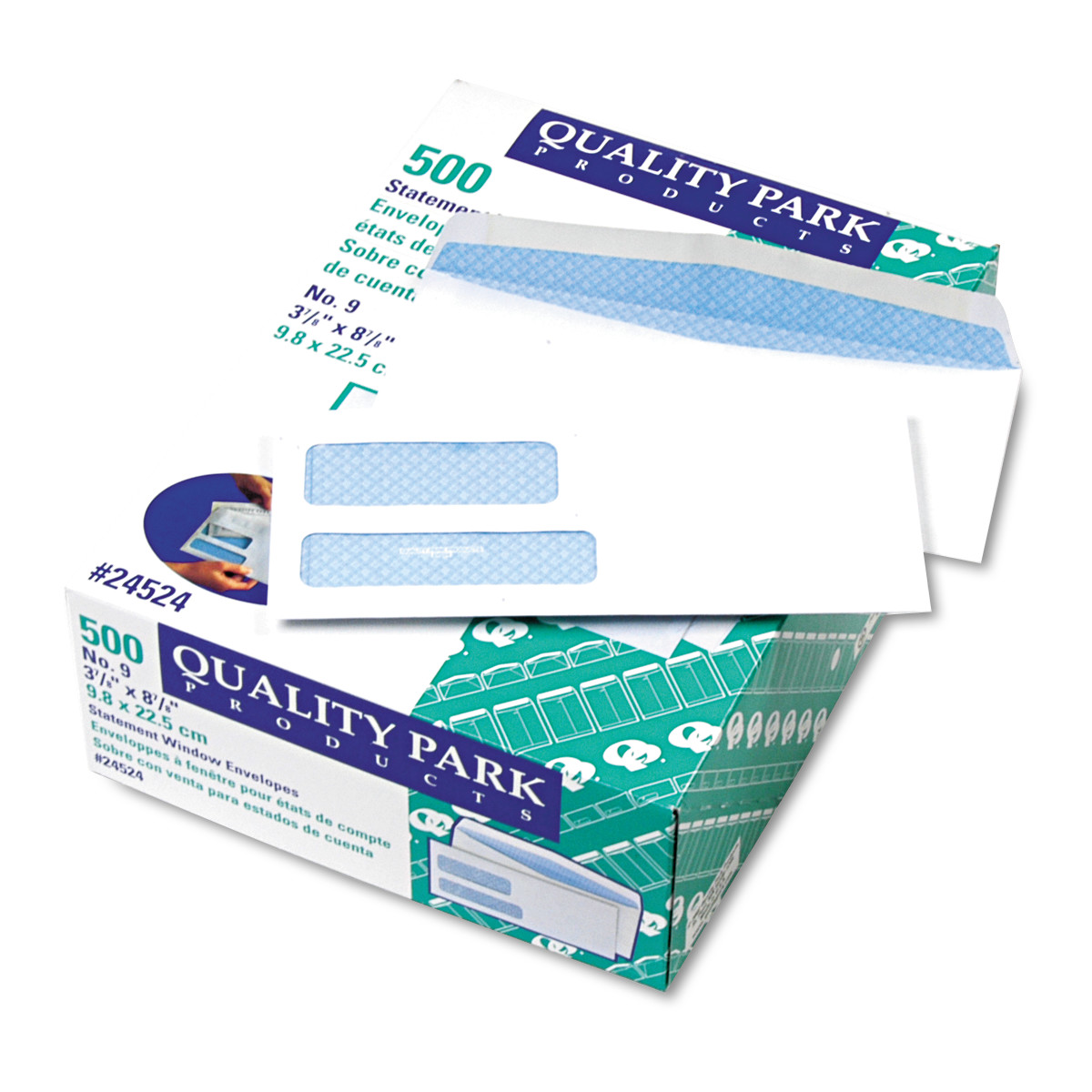 Quality Park 2-Window Security Tinted Invoice/Check Mailer, #9, 3 7/8 x 8 7/8, White, 500/BX -QUA24524