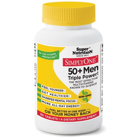 Super Nutrition, Simply One Multi-Vitamin/Mineral Supplement 50+ Men, 30 Ct