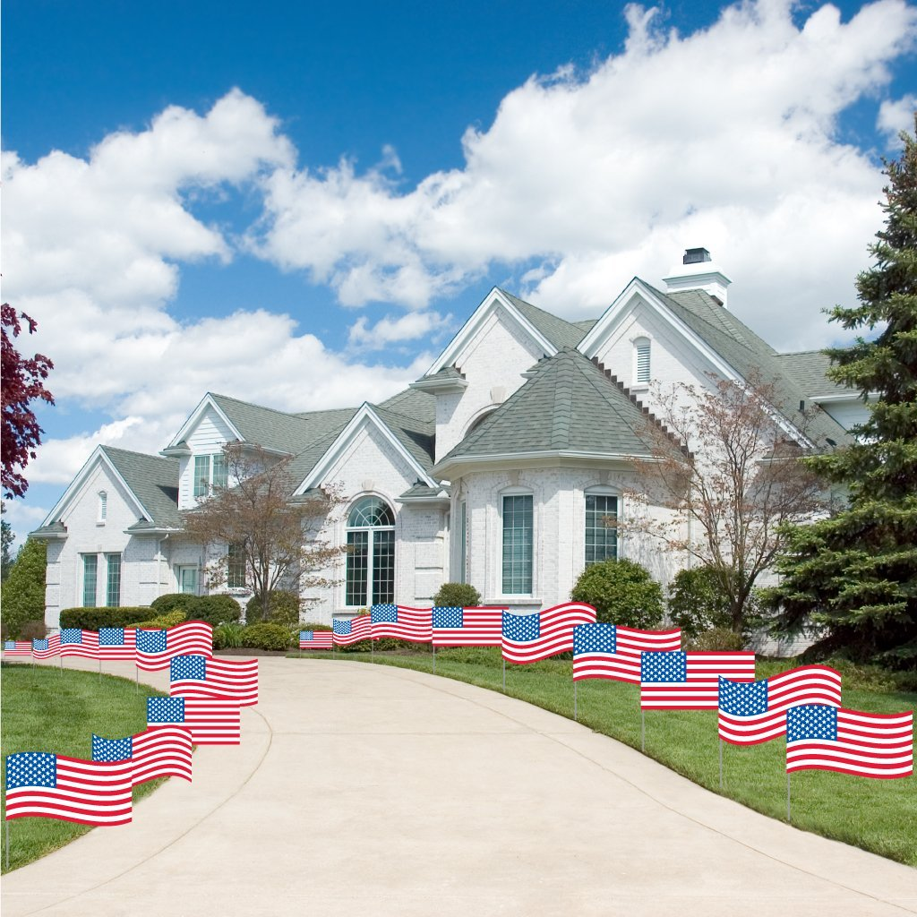 Fourth of July - Flag Pathway Markers - Corrugated Plastic Flags - Patriotic Yard Decorations - 18 Count