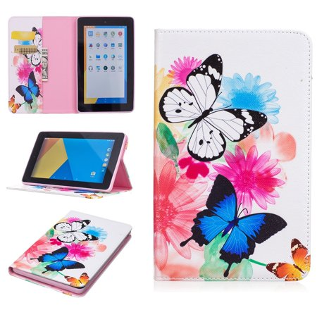 All-New Fire 7 Tablet Case, Goodest Lightweight Flip PU Leather Folding Stand Cover [Card Holder] Case for All-New Fire 7 Tablet (7th Generation, 2017 Release), Colorful Butterfly - Halloween Math Games For 7th Grade
