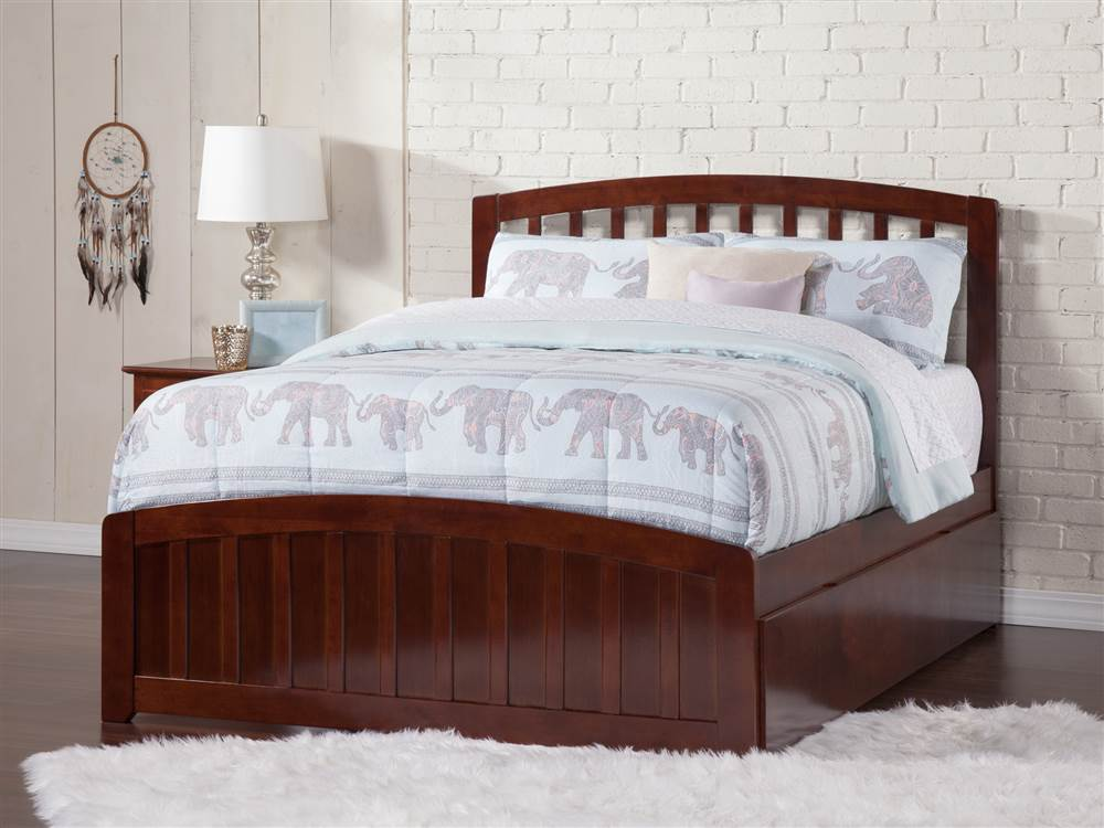 Panel Bed with Foot Board and Urban Trundle Bed (Twin Walnut) by Atlantic Furniture