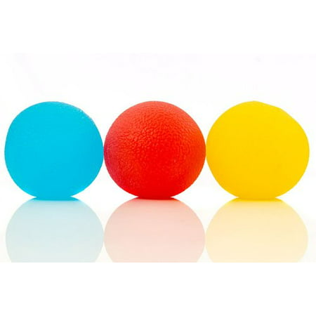 Squishy Stress Relief Balls (3-pack) - Tear-Resistant Stress Ball, Non-toxic, BPA/Phthalate/Latex-Free (Colors as Shown)