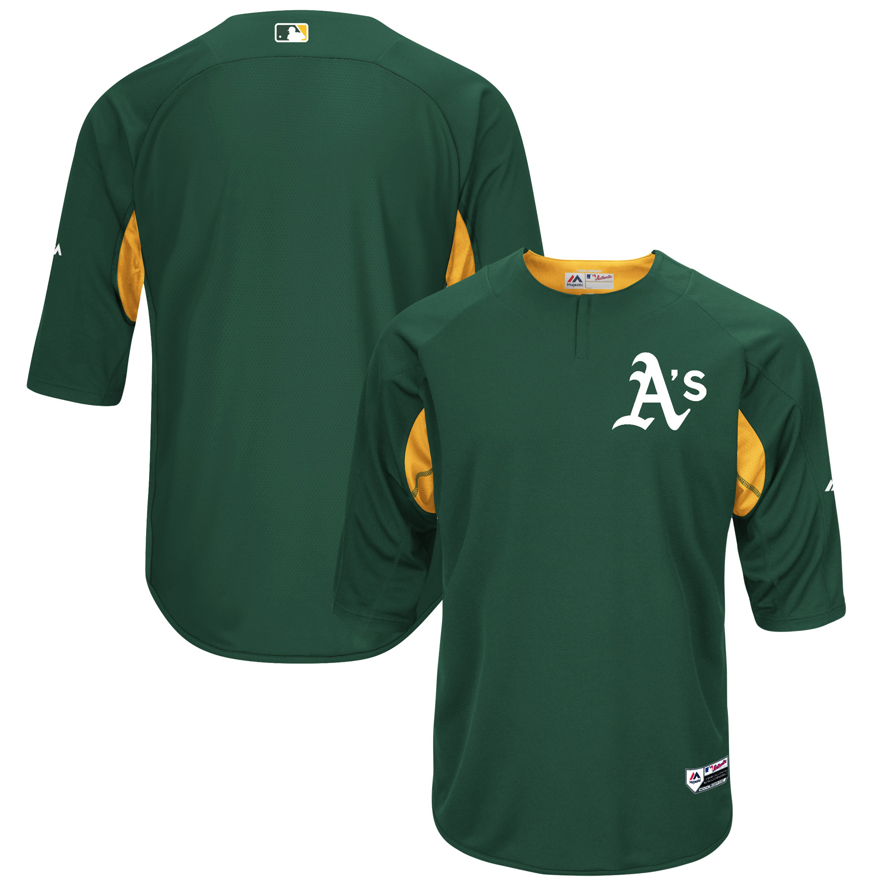 Oakland Athletics Majestic Authentic Collection On-Field 3/4-Sleeve Batting Practice Jersey - Green/Gold