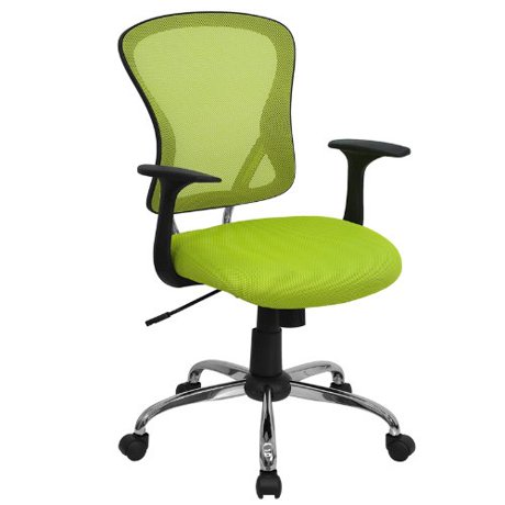 flash furniture mid back green mesh swivel task chair with chrome