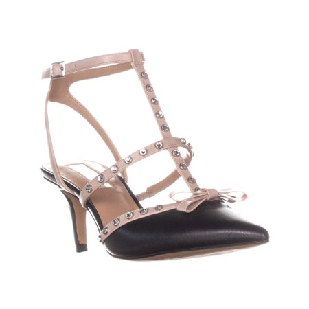 Womens I35 Daniaa Pointed Toe Front Bow Bejeweled Sandals, Black