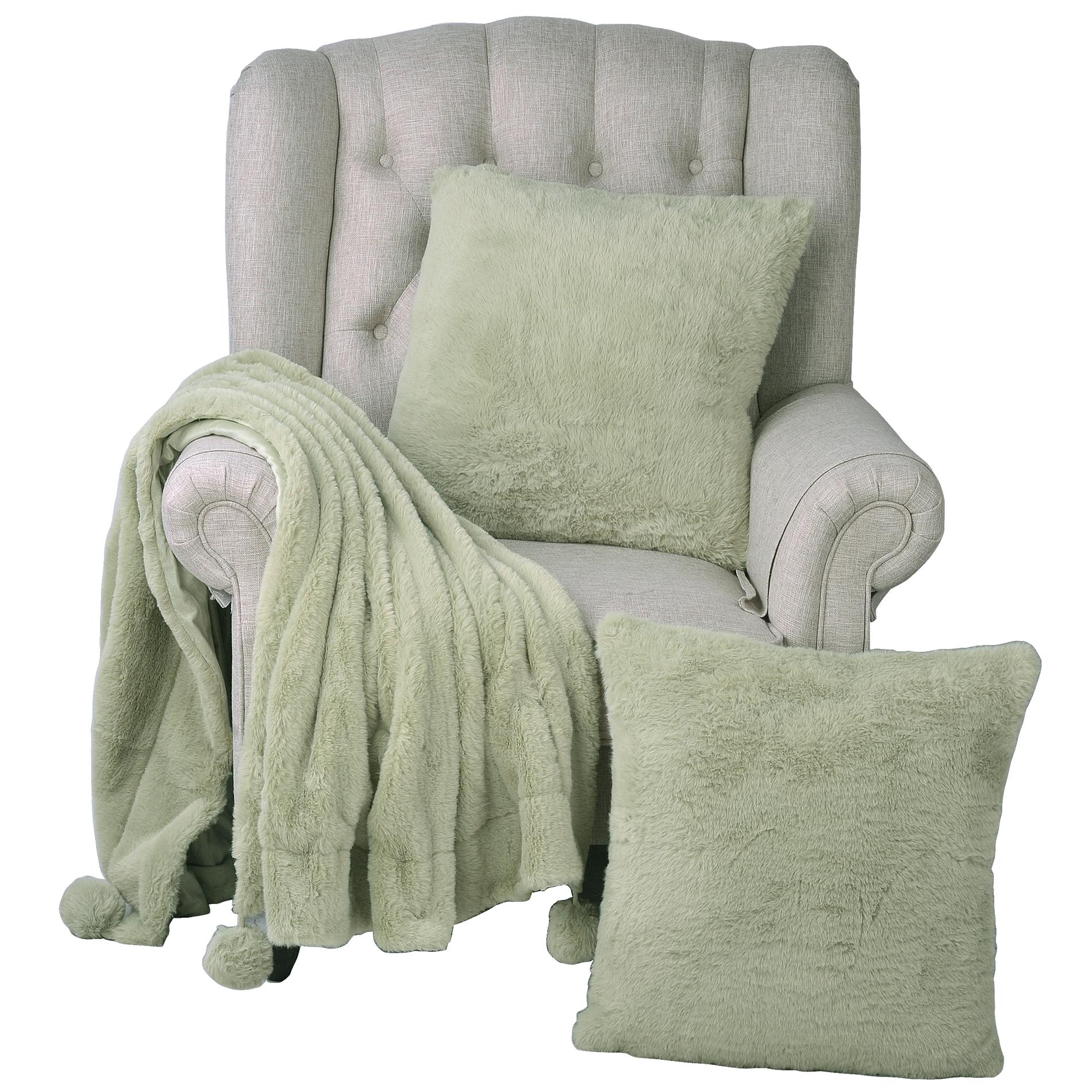 "Pompom Faux Fur Throw & 2 Pillow Combo Set , 50"" x 60"" / 20"" x 20"""
