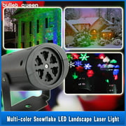 Moving Sparkling LED Snowflake Landscape Laser Projector Wall Lamp Xmas Light