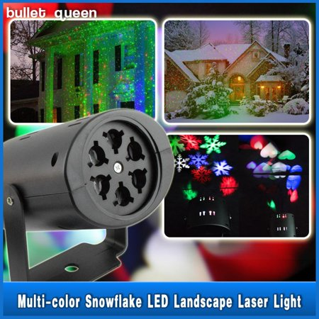 Moving Sparkling LED Snowflake Landscape Laser Projector Wall Lamp Xmas Light ()