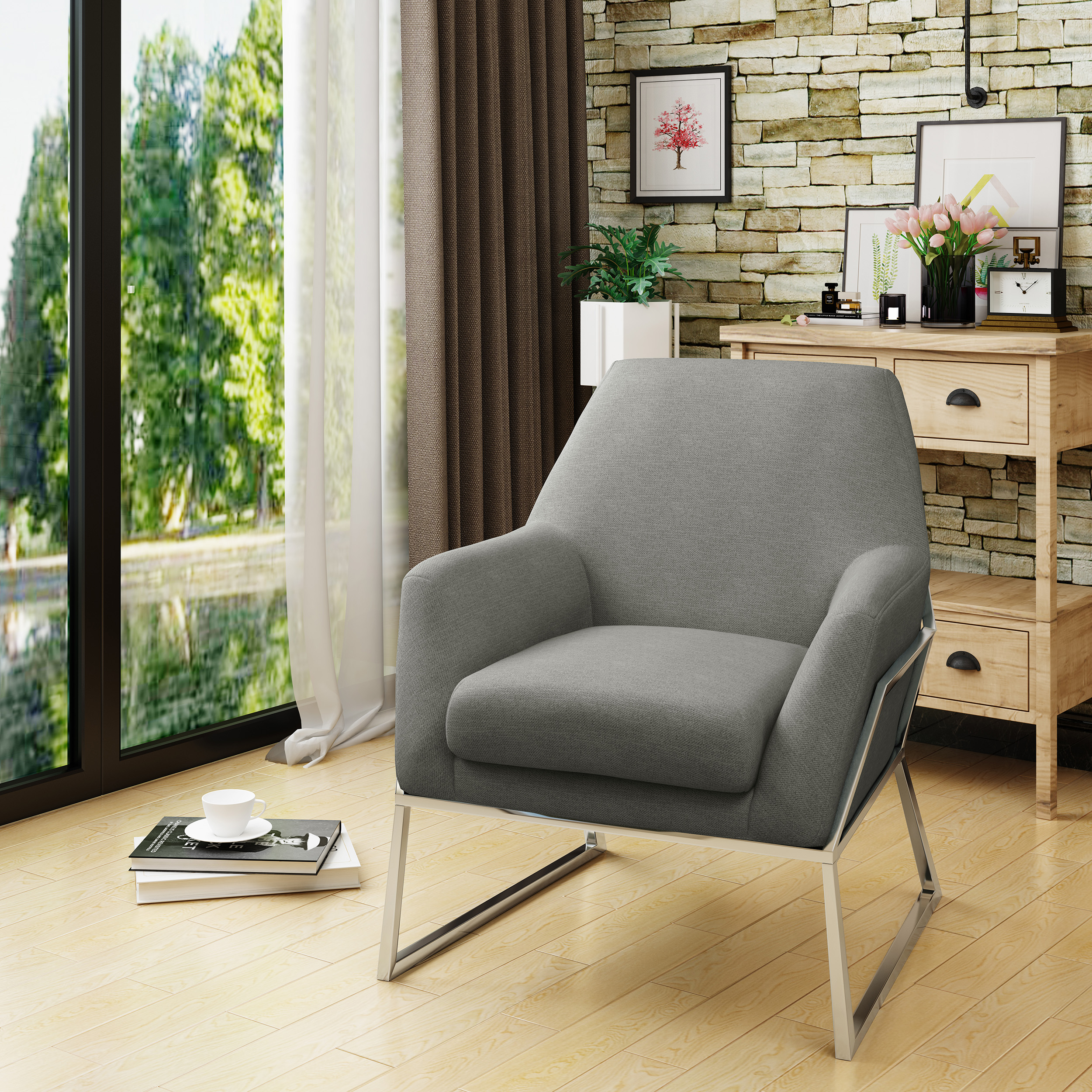 Noble House Zaim Modern Fabric Chair with Stainless Steel Frame,Grey