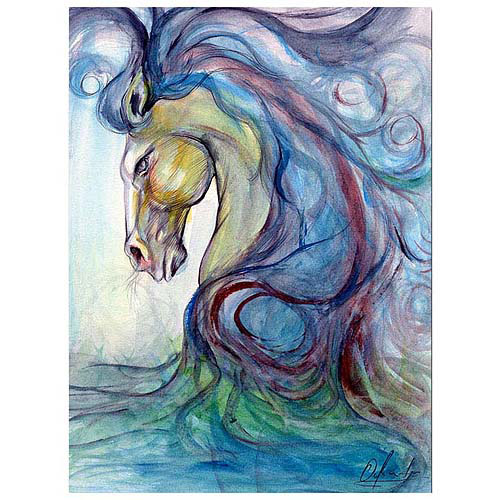"Trademark Fine Art ""Caballo Azul"" Canvas Art"