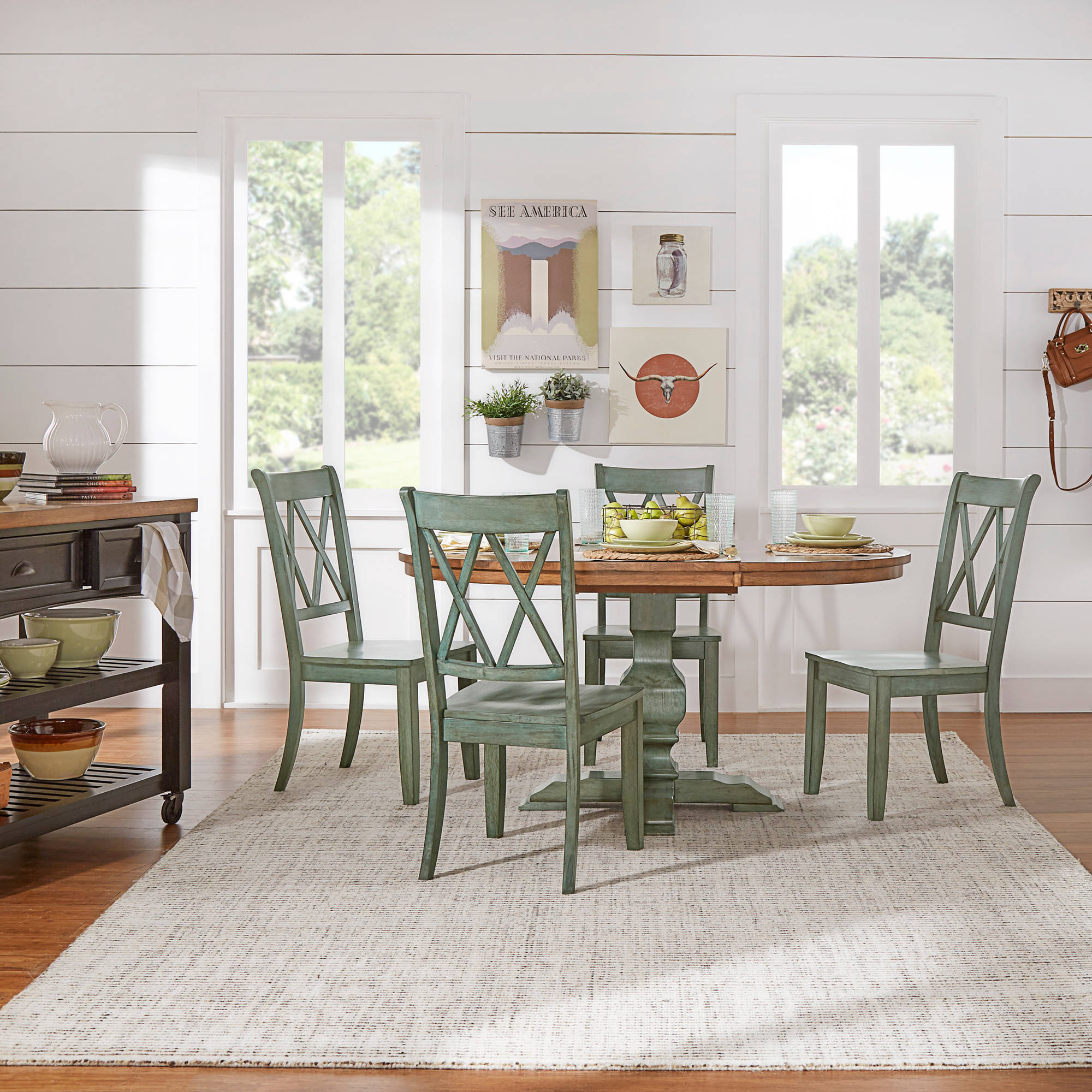 """Weston Home 5-Piece 60"""" Oval Dining Set, with Dark Sea Green Table and Dark Sea Green Cross Back Chairs"""