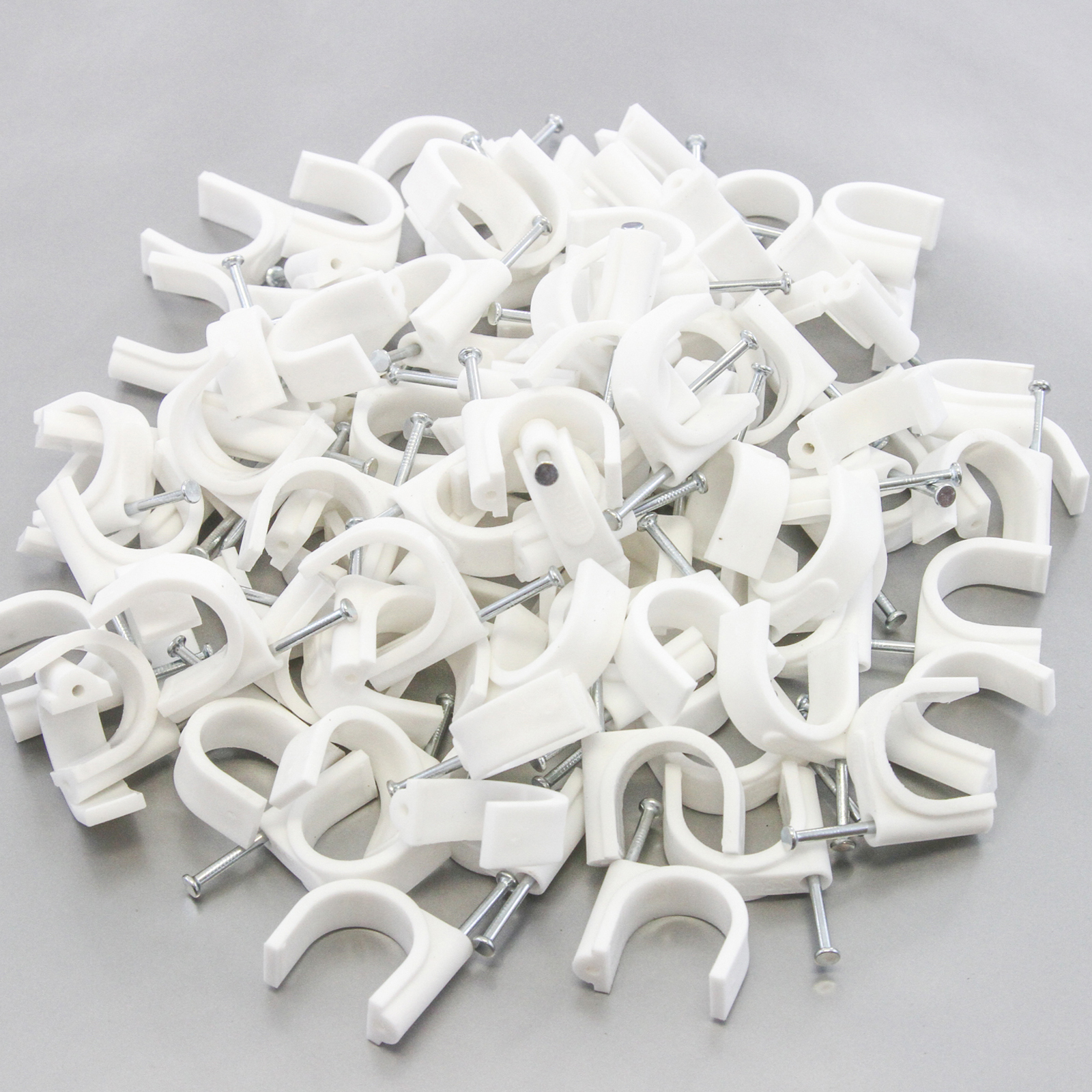 "100 Round 1"" (25 mm) Cable Wire Clips Cable Management Cord Tie Holder Coaxial Nail In Clamps Tacks"