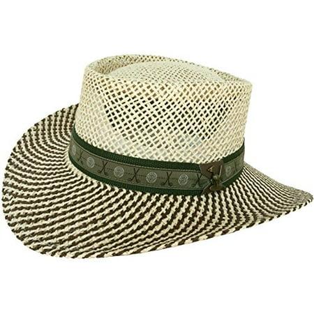 Headchange - Paper Straw Gambler Wide Brim 2 Tone Golf Hat (Natural   Brown    Golf Band) - Walmart.com f303c87df10