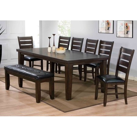 Simple Relax 1PerfectChoice Urbana 6 Pcs Casual Dining Set Rectangular Leaf Table Chair Bench Black Pu Seat