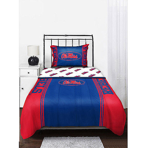NCAA Mascot Bedding Comforter Set with Sheets, Mississippi Rebels