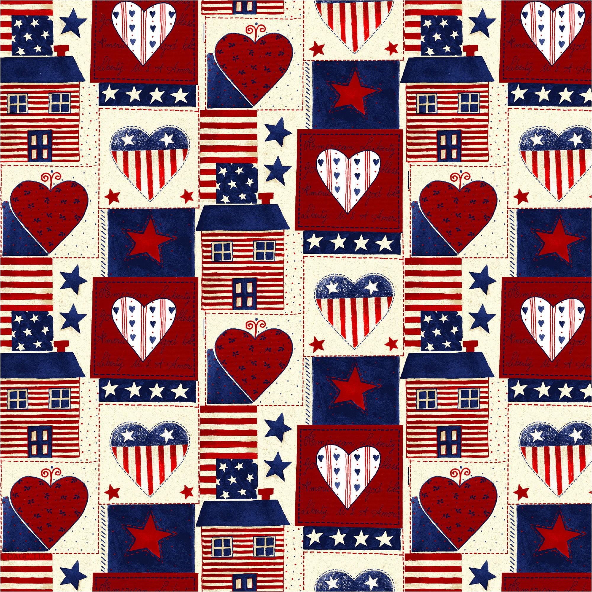 "American Greetings Cotton 36"" x 44"" Americana Heart Fabric, 1 Each"