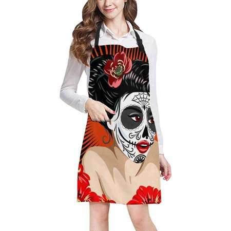 ASHLEIGH Halloween Mexican Girl's Death in Skull Make up Chef Kitchen Apron, Adjustable Strap Waist Ties, Front Pockets, Perfect for Cooking, Baking, Barbequing - Halloween In Mexico