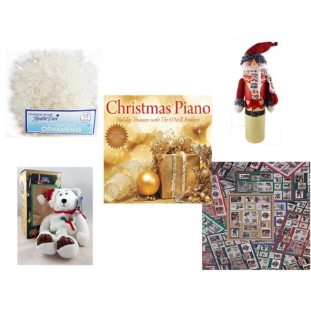 - Christmas Fun Gift Bundle [5 Piece] -  Arctic Fun Snowflake Ornaments 10 Pack - Wine Gift Box Snowman -  Piano  Treasures with The O'Neill Brothers CD - Limited Treasures  Edition White Holly Berry