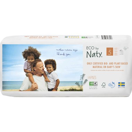 Eco by Naty Premium Disposable Diapers for Sensitive Skin, Size 5, 2 packs of 40 (80 Diapers) (Chlorine and perfume