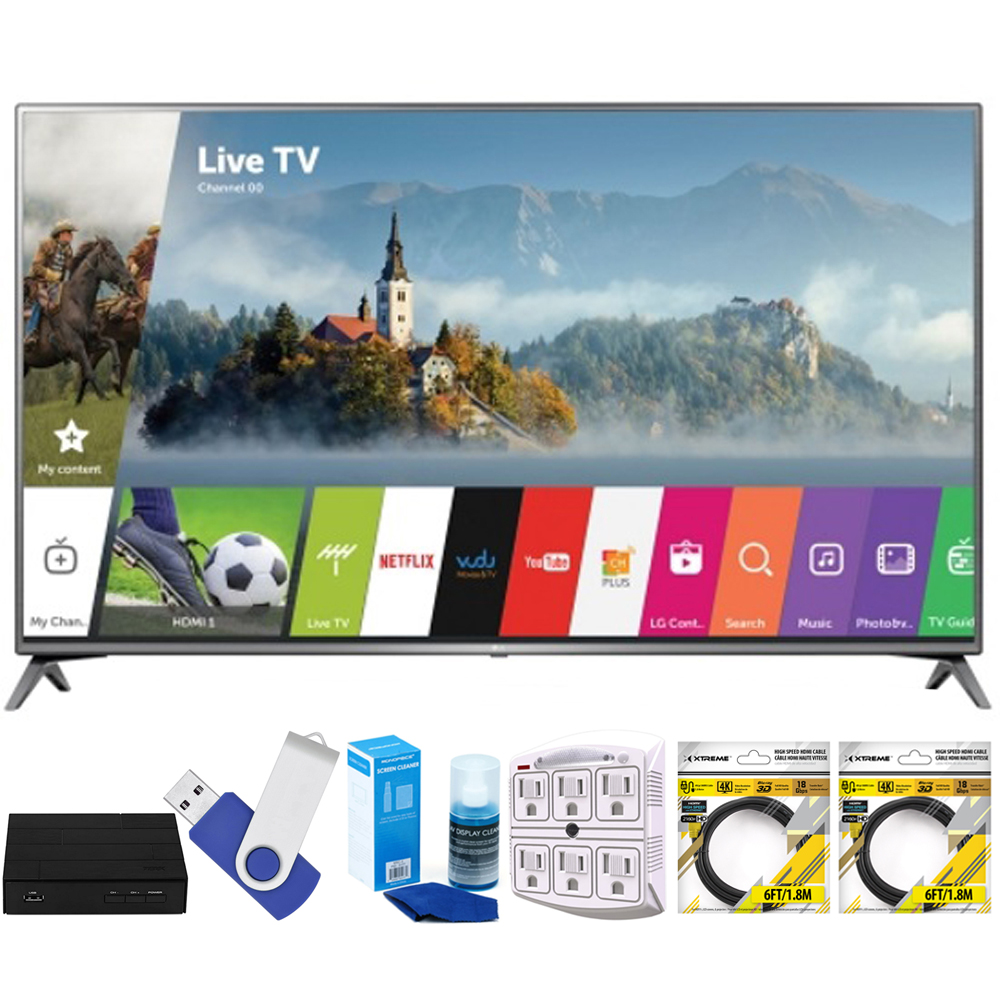 "LG 75UJ6470 75"" UHD 4K HDR Smart LED HDTV (2017 Model) Plus Terk Cut-the-Cord HD Digital TV Tuner and Recorder 16GB Hook-Up Bundle"