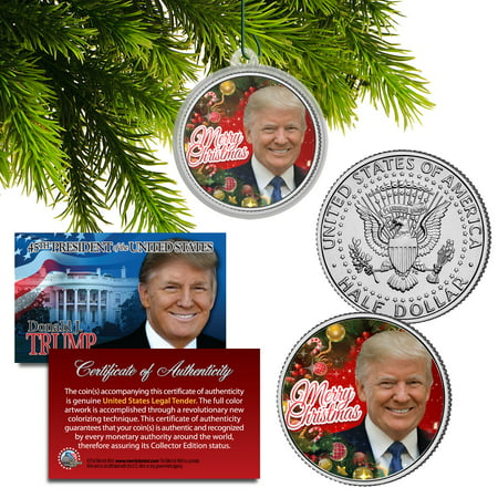 DONALD TRUMP Genuine XMAS JFK Half Dollar Coin in Christmas Ornament Tree Holder
