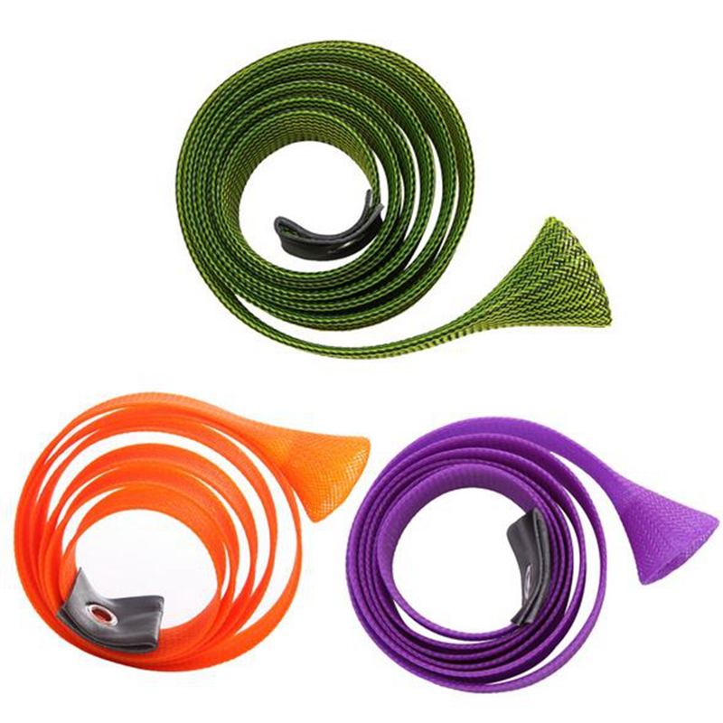 Portable Elastic Braided Buckled Fishing Rod Cover Spinning Rod Protective Gloves 3cm*170cm Color:purple - image 2 of 8