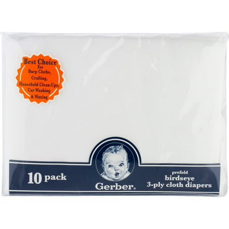 Gerber Newborn Baby Prefold Birdseye 3-Ply Cloth Reusable Diaper, 10 Pack