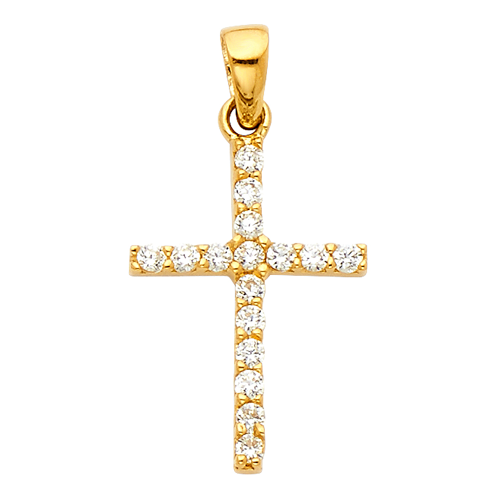20mm x 14mm Million Charms 14K Two-tone Gold Small//Mini Religious Crucifix Stamp Charm Pendant