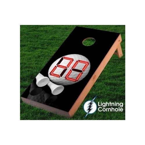 Lightning Cornhole Electronic Scoring Golf Ball and Tee Cornhole Board by