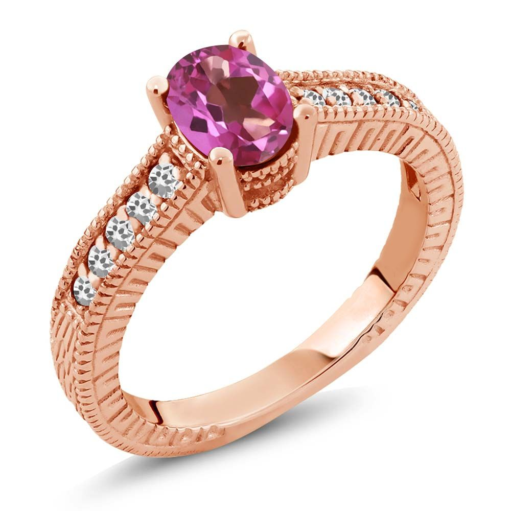 1.17 Ct Oval Pink Mystic Topaz White Sapphire 18K Rose Gold Engagement Ring by
