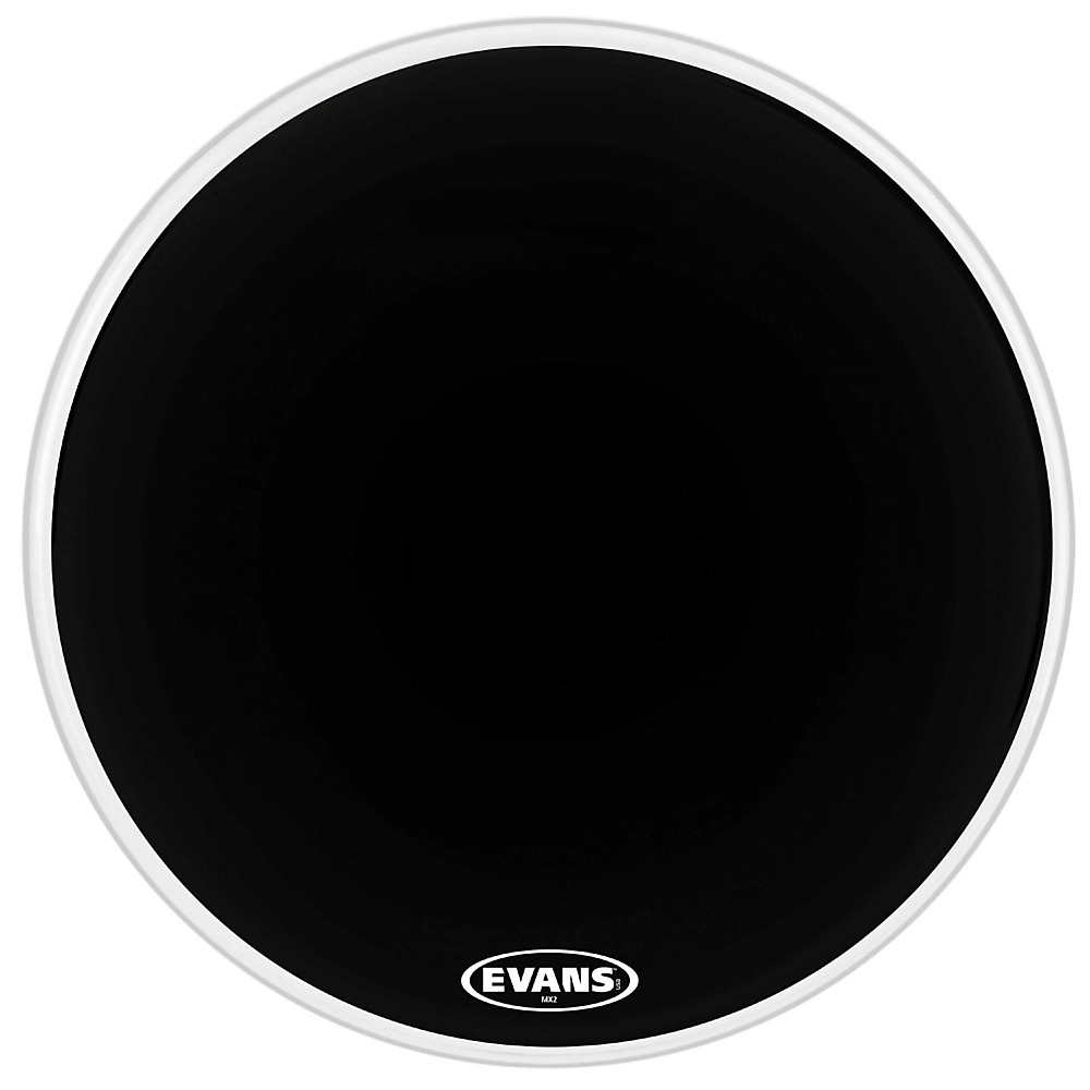 Evans MX2 Black Marching Bass Drum Head Black 16 in.