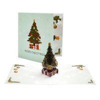 AkoaDa 3D Merry Christmas Tree Greeting Cards Postcards Birthday Gift Message Card Thanksgiving Card Weihnachtskarten