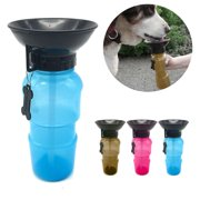 Portable Dog Water Bottle Dispenser Plastic Feeding Bowl;;,Travel Water Drink Bottle Bowl for Pet Dog Cat, Auto Dog Mug Waterer Blue