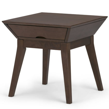 Brooklyn + Max Lambert Solid Hardwood 22 inch Wide Square Contemporary End Side Table in Walnut Brown ()
