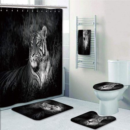 Prtau Bengal Tiger Lying In Grass Africa Savannah