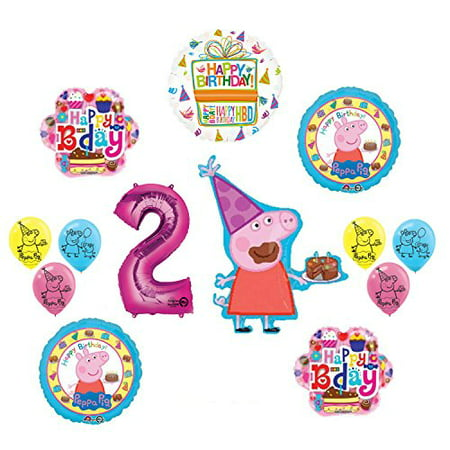 Peppa Pig 2nd Birthday Party Balloon supplies and decorations kit (Peppa Birthday)