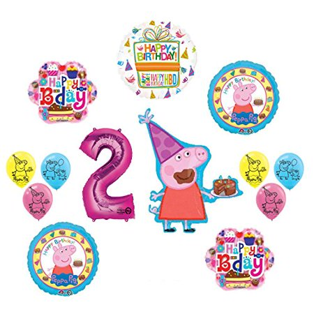 Peppa Pig 2nd Birthday Party Balloon supplies and decorations kit - Peppa Pig Birthday