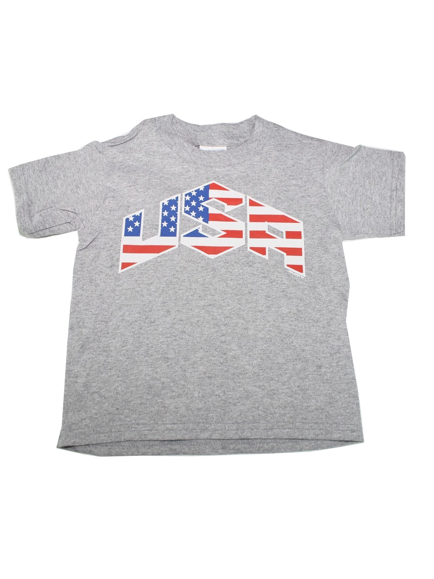 """Unisex Grey Red Blue White American Flag """"USA"""" Printed Cotton T-Shirt"""