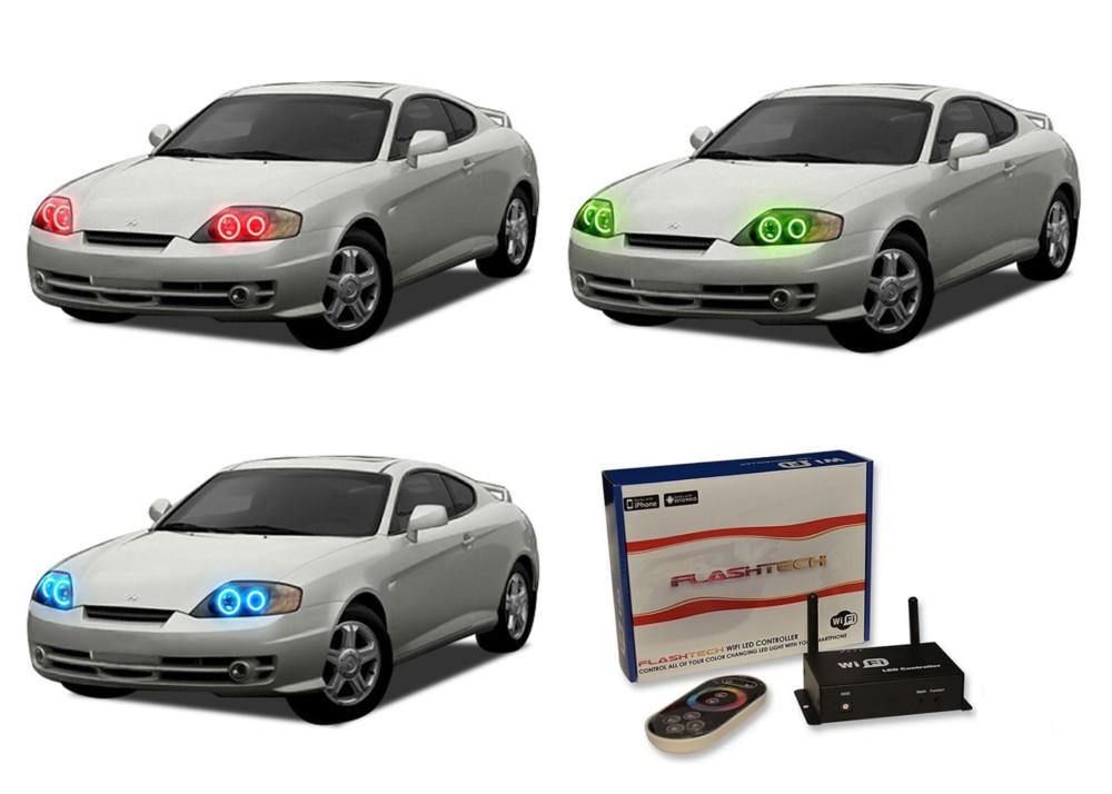 Flashtech Led Rgb Multi Color Halo Ring Headlight Kit For Hyundai Tiburon 03