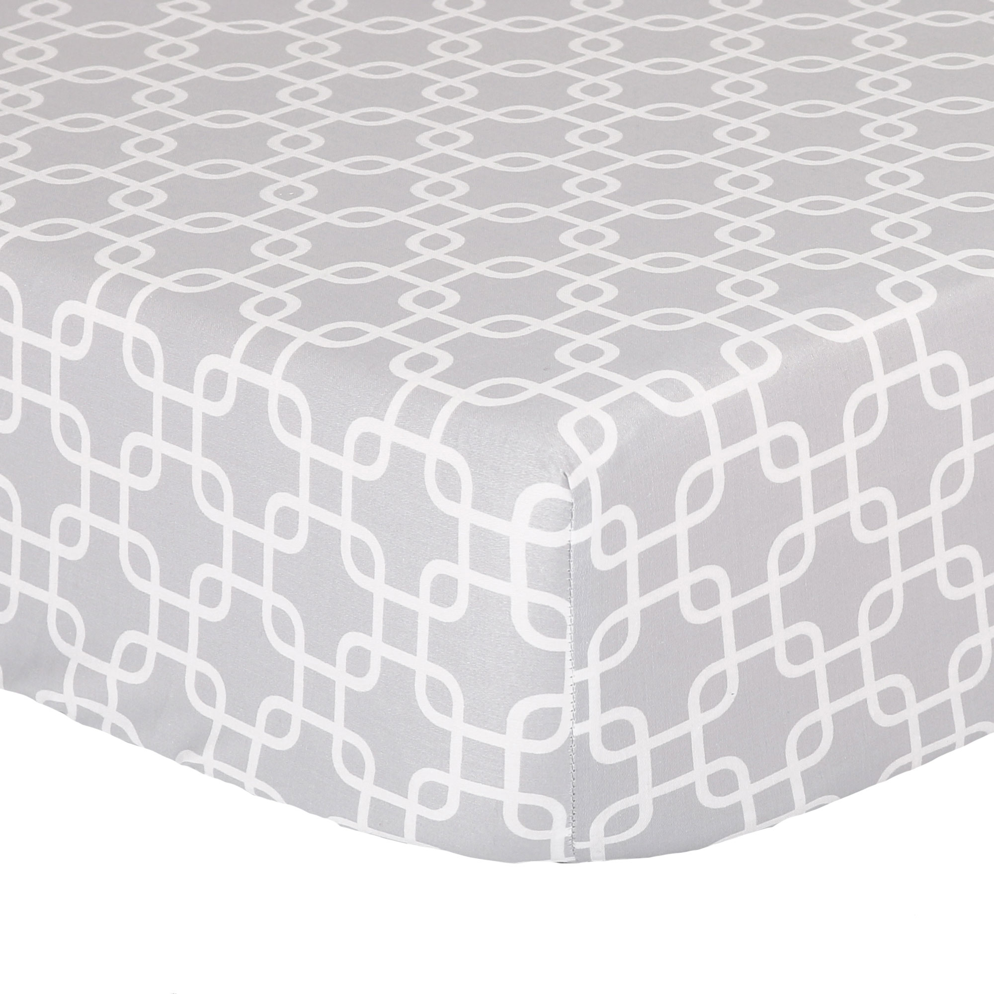 The Peanut Shell Baby Crib Fitted Sheet - Grey Geometric Print - 100% Cotton Sateen, Fits Standard 52 by 28 Inch Mattress