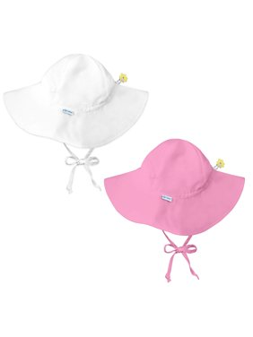 i play Baby and Toddler Brim Sun Protection Hat- White and Lt Pink - 2 Pack