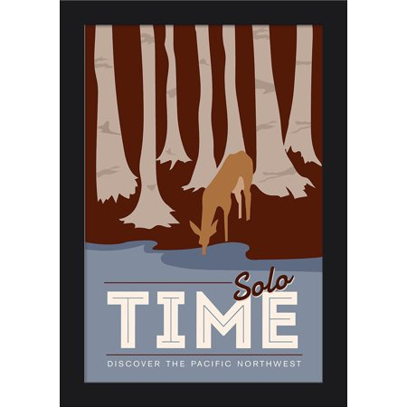 Discover the Pacific Northwest - Solo Time - Deer Drinking in Forest - Vector Style - Lantern Press Artwork (12x18 Giclee Art Print, Gallery Framed, Black Wood) Black Forest Wood Products