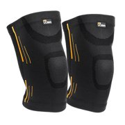 QF 1 Pair Adult Gym Knee Braces (Set of 2) Compression Sleeve Patella Wrap Band Knee Stabilizer Safe Pain Relief(Black/S)