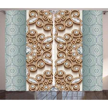 Elegant Curtains 2 Panels Set, Vintage Gold Swirling Lines ...