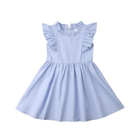 Baby Girl Toddler Ruffle Pleated Dress Cotton Sleeveless A Line Casual Dress Summer for (Baby Surprise Jacket Line By Line Instructions)