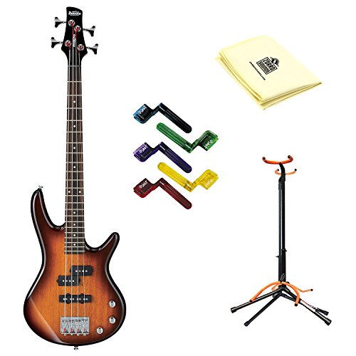 Ibanez GSRM20 Mikro 3/4 Size Bass Guitar with Brown Sunburst Finish With Polishing Cloth, Stand, and Pegwinders