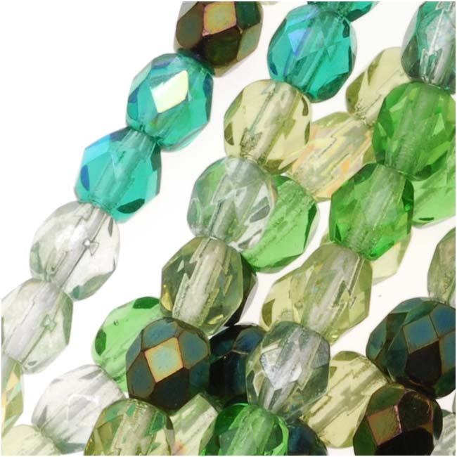 Czech Fire Polished Glass Beads 4mm Round 'Ever Green Mix' (100)